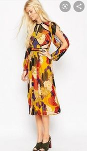 Midi Dress with Cut Outs in Floral